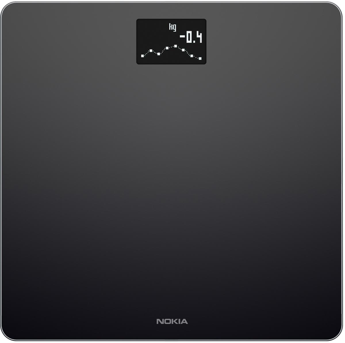 Nokia Body, Black весы напольные70251803Беспроводные весы Nokia Body - идеальный помощник для похудения. С помощью таких инструментов, как трендовые индикаторы и отслеживание питания, вы сможете ставить цели и добиваться их.Отслеживайте рост вашего ребенка. Следить за весом вашего ребенка просто – встаньте на весы, удерживая его на рукахКаждое взвешивание отображается в приложении Health Mate автоматически через Wi-Fi или Bluetooth. С вашей историей, доступной 24/7, вы можете видеть какие методики работают, продолжать движение в позитивном направлении и сосредоточиться на ваших целях.Отслеживание веса и ИМТУстановка целей, управление ежедневным бюджетом калорий с интегрированным отслеживанием питанияЛучшая в своем классе точностьДля всей семьи - распознает и отслеживает до 8 пользователей, включая детейАвтоматическая синхронизация с вашим смартфоном через Wi-Fi или Bluetooth
