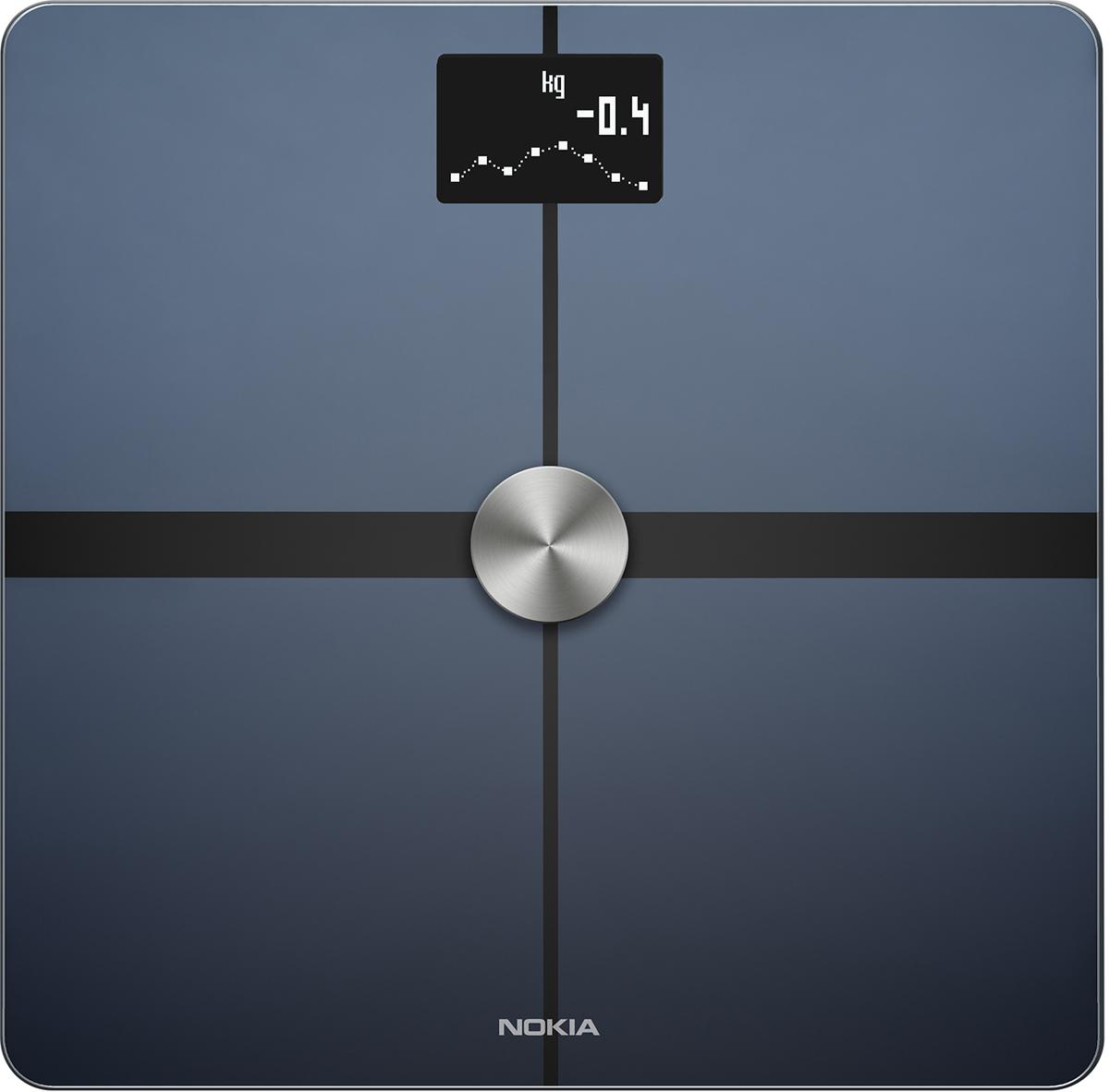 Nokia Body+, Black весы напольные70238903Беспроводные весы Nokia Body+ станут идеальным помощником для похудения. С помощью инструментов, таких как трендовые индикаторы и отслеживание питания, вы сможете ставить цели и добиваться их.Взвешивайтесь умнее. Измерение полного состава тела поможет вам точно распределить свои усилия при сбросе веса.Каждое взвешивание отображается в приложении Health Mate автоматически через Wi-Fi или Bluetooth. С вашей историей, доступной 24/7, вы можете видеть, что работает, продолжать движение в позитивном направлении и сосредоточиться на ваших целях.Отслеживание веса, BMI и полного состава телаУстановка целей, управление ежедневным бюджетом калорий с интегрированным отслеживанием питанияЛучшая в своем классе точностьДля всей семьи - распознает и отслеживает до 8 пользователей, включая детейАвтоматическая синхронизация с вашим смартфоном через Wi-Fi или Bluetooth