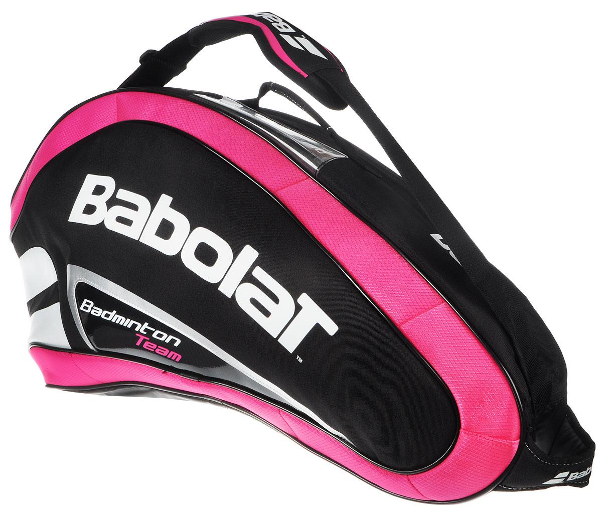 Чехол Babolat  Team Line , на 4 бадминтонные ракетки, цвет: розовый, черный, белый - Бадминтон
