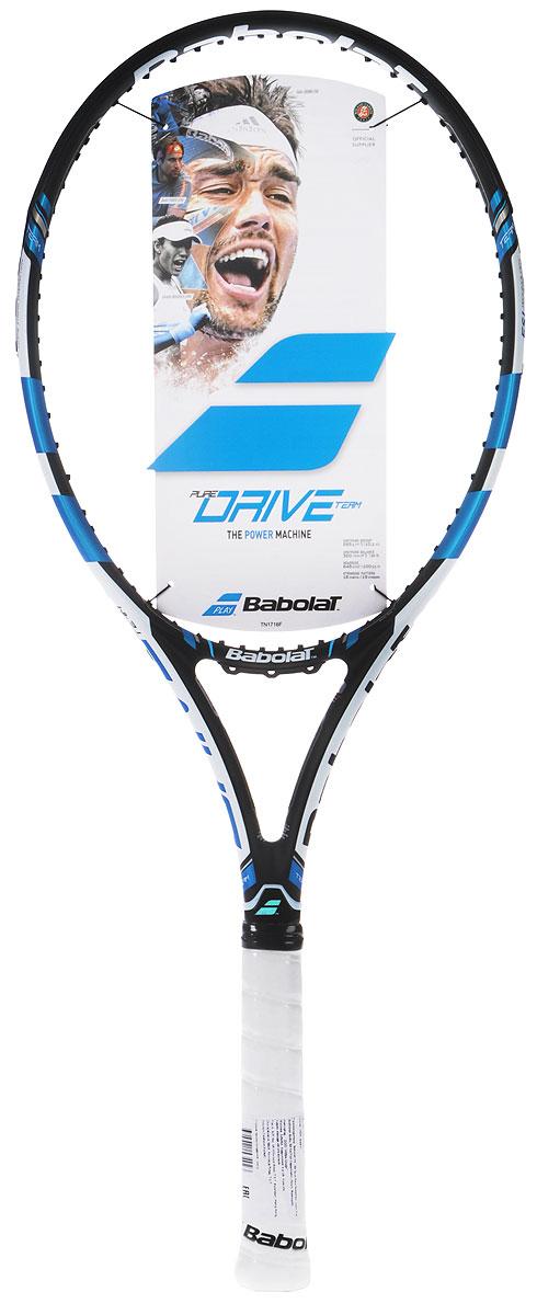 Ракетка теннисная Babolat Pure Drive Team, без натяжки, цвет: черный, синий. Размер 2
