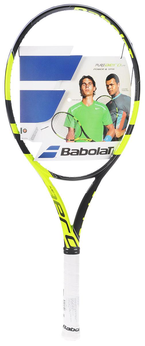 Ракетка теннисная Babolat Pure Aero Lite, без натяжки, цвет: черный, салатовый. Размер 2