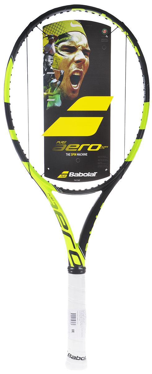Ракетка теннисная Babolat Pure Aero без натяжки, цвет: черный, салатовый. Размер 3
