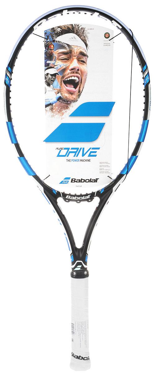 Ракетка теннисная Babolat Pure Drive Lite, без натяжки, цвет: черный, синий. Размер 2