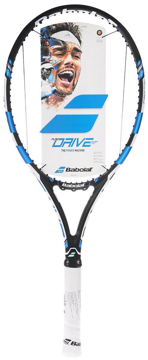 Ракетка теннисная Babolat Pure Drive Super Lite, с натяжкой, цвет: черный, синий. Размер 2