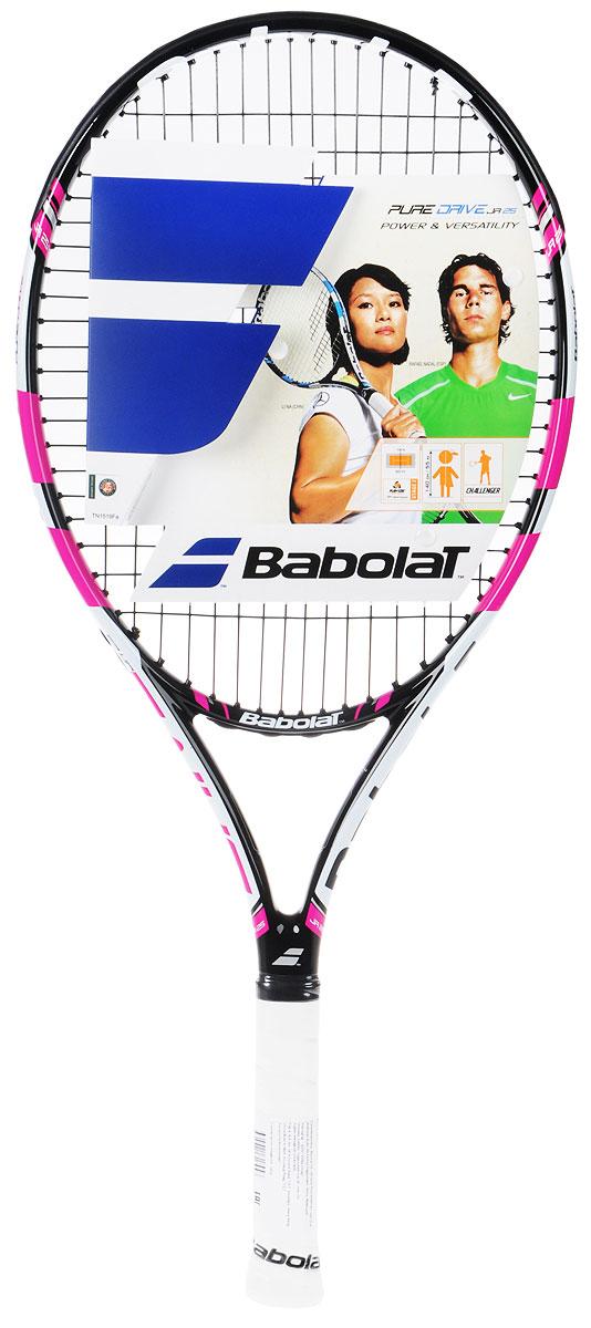 Ракетка теннисная Babolat Pure Drive Junior 25, с натяжкой, цвет: черный, розовый140159Размер головы: 645 см2/Длина ракетки: 635 мм/Вес:Баланс: 315 ммСостав: графит / композитГрип: Syntec Pro