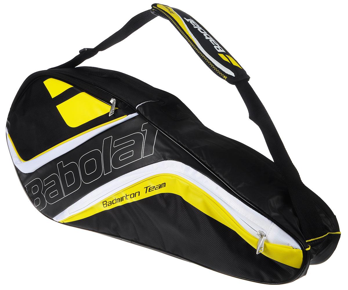 Чехол Babolat  Team Line , на 4 бадминтонные ракетки, цвет: желтый, черный - Бадминтон
