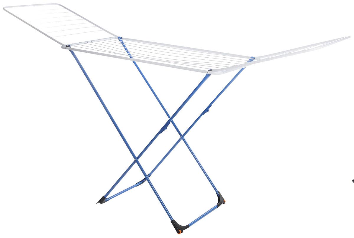 Сушилка для белья Gimi Top, напольная, с колесами, цвет: белый, синий, 20 м1079000000030_белый, синийНапольная сушилка для белья Gimi Top проста и удобна в использовании, компактно складывается, экономя место в вашей квартире. Сушилку можно использовать на балконе или дома. Общая длина реек сушилки составляет 20 метров, они выдерживают 2 стандартные загрузки стиральной машины после стирки и отжима. Также сушилка имеет дополнительный держатель для маленьких вещей (носки, платки, перчатки и тому подобное).
