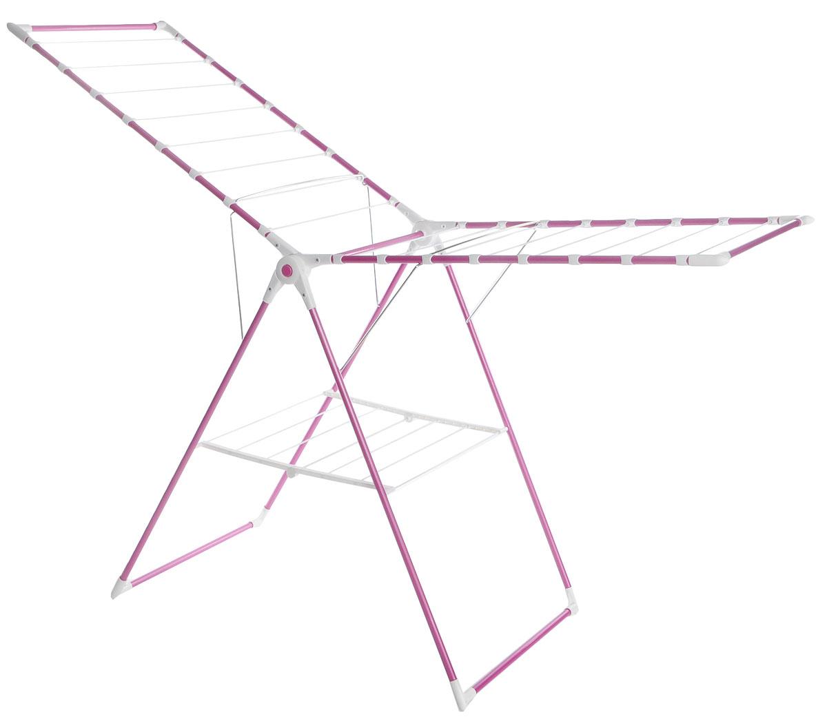 Сушилка для белья Perilla  Мега Колор/Mega Color , напольная, цвет: розовый, 17,5 м - Сушилки для белья