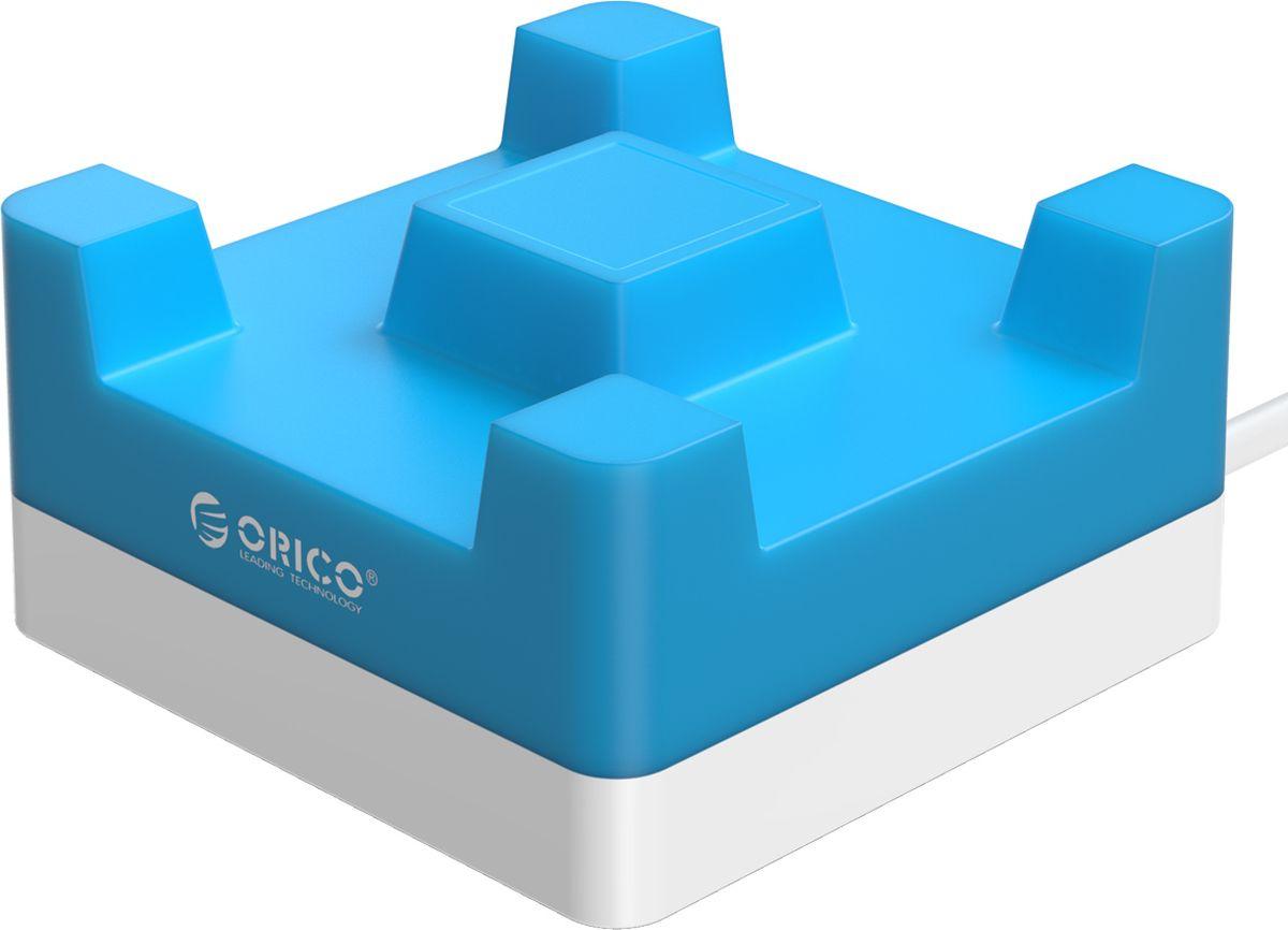Orico CHA-4U-EU, Blue сетевое зарядное устройствоORICO CHA-4U-EU-BLORICO CHA-4U-BK справится с зарядкой любых устройств, совместимых с USB. Это могут быть смартфоны, планшеты, камеры, навигаторы и другие устройства. Максимальная выходная мощность каждого рзъёма составляет 5В, 2,4А. Благодаря качественным электронным компонентам КПД составляет 88%. Благодаря уникальной конструкции, во время зарядки можно с комфортом смотреть видео на экране смартфона или планшета. Корпус изготовлен из металла и ABS-пластика, устойчивого к высоким температурам и внешним воздействиям. ORICO CHA-4U-BK совместим со всеми популярными устройствами: смартфонами, планшетами и другими гаджетами, которые могут заряжаться от портов USB. Имеет встроенную защиту от перегрузок, перезарядки, коротких замыканий, скачков напряжений и других проблем, которые могут подстерегать зарядные устройства. ХарактеристикиТип устройства Настольное универсальное зарядное устройство на 4 USB порта / подставка для смартфона или планшетаМатериал корпуса ABS огнестойкий пластик / силиконИсточник питания Сеть переменного тока 100-240V 50 / 60HzВыходы USB USB A х4Количество выходов USB 4Защита от скачков напряжения ЕстьЗащита от короткого замыкания ЕстьЗащита от перегрева ЕстьЗащита от перегрузки ЕстьЗащита от излишней зарядки ЕстьКабель Силовой кабель в комплектеДлина кабеля 1.2 мЦвет СинийГабариты 88 х 88 х 45 ммПрочее Совместим с любыми устройствами на 5 Вольт: телефоны, смартфоны, планшеты, фотоаппараты, внешние аккумуляторы, видеокамеры, навигаторы и т.д.