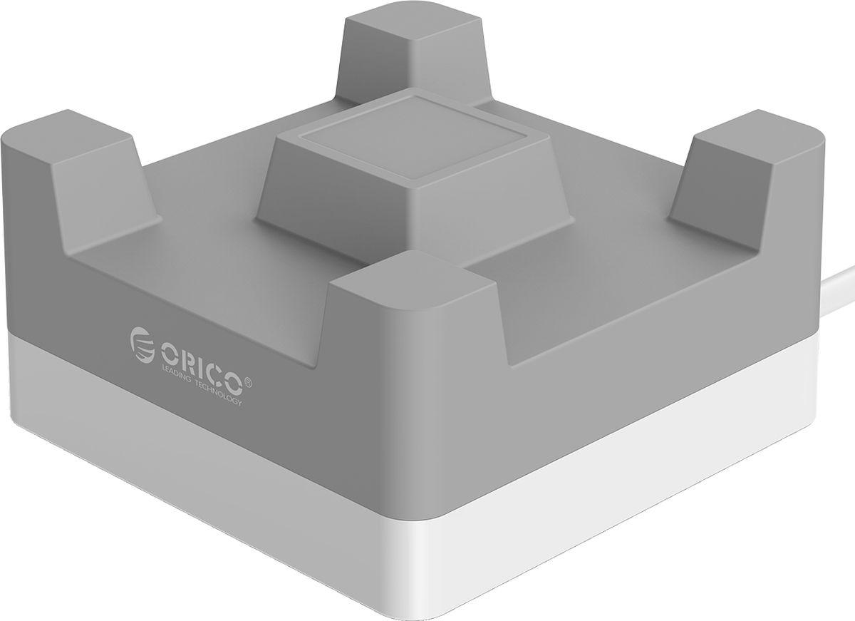 Orico CHA-4U-EU, Grey сетевое зарядное устройствоORICO CHA-4U-EU-GYORICO CHA-4U-BK справится с зарядкой любых устройств, совместимых с USB. Это могут быть смартфоны, планшеты, камеры, навигаторы и другие устройства. Максимальная выходная мощность каждого рзъёма составляет 5В, 2,4А. Благодаря качественным электронным компонентам КПД составляет 88%. Благодаря уникальной конструкции, во время зарядки можно с комфортом смотреть видео на экране смартфона или планшета. Корпус изготовлен из металла и ABS-пластика, устойчивого к высоким температурам и внешним воздействиям. ORICO CHA-4U-BK совместим со всеми популярными устройствами: смартфонами, планшетами и другими гаджетами, которые могут заряжаться от портов USB. Имеет встроенную защиту от перегрузок, перезарядки, коротких замыканий, скачков напряжений и других проблем, которые могут подстерегать зарядные устройства. ХарактеристикиТип устройства Настольное универсальное зарядное устройство на 4 USB порта / подставка для смартфона или планшетаМатериал корпуса ABS огнестойкий пластик / силиконИсточник питания Сеть переменного тока 100-240V 50 / 60HzВыходы USB USB A х4Количество выходов USB 4Защита от скачков напряжения ЕстьЗащита от короткого замыкания ЕстьЗащита от перегрева ЕстьЗащита от перегрузки ЕстьЗащита от излишней зарядки ЕстьКабель Силовой кабель в комплектеДлина кабеля 1.2 мЦвет СерыйГабариты 88 х 88 х 45 ммПрочее Совместим с любыми устройствами на 5 Вольт: телефоны, смартфоны, планшеты, фотоаппараты, внешние аккумуляторы, видеокамеры, навигаторы и т.д.