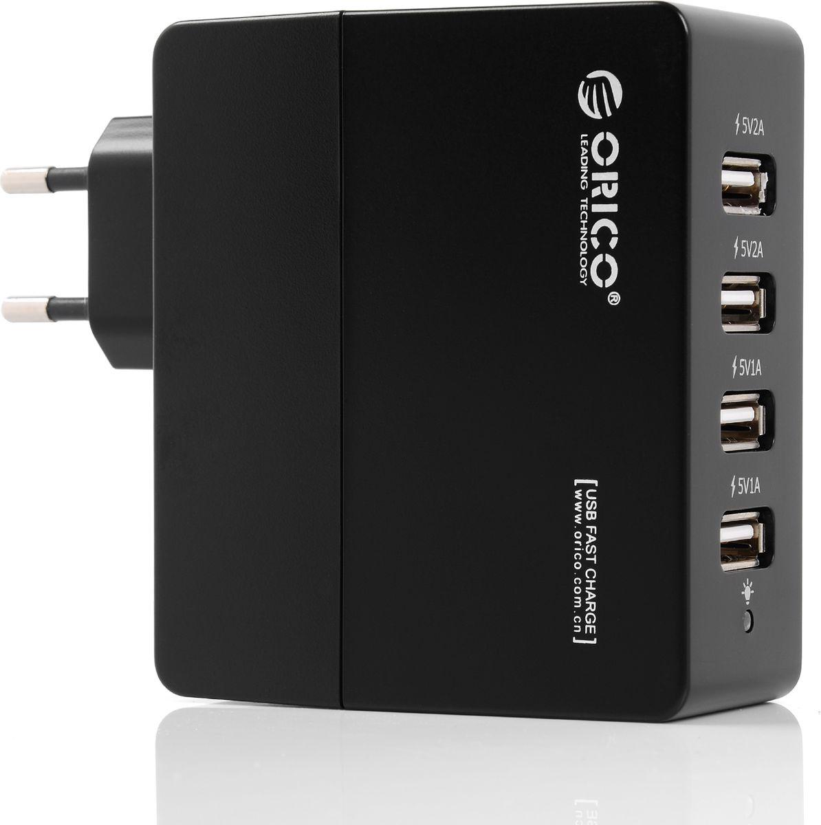 Orico DCA-4U, Black сетевое зарядное устройствоORICO DCA-4U-BKORICO DCA-4U способен самостоятельно определить подключённое к нему устройство и подобрать лучшие выходные параметры силы тока и напряжений для быстрой и безопасной зарядки (1А и 2,4А). ORICO DCA-4U справится с зарядкой четырёх устройств с силой тока до 2,4А. Благодаря качественным электронным компонентам КПД составляет 85%. ORICO DCA-4U оборудовано защитой от перегрева, короткого замыкания, перезарядки и превышения мощность зарядки. ХарактеристикиТип устройства Блок питанияМатериал корпуса ABS пластикИсточник питания Сеть 220ВВыходы USB USB Type AКоличество выходов USB 4Защита от скачков напряжения ДаЗащита от короткого замыкания ДаЗащита от перегрева ДаЗащита от перегрузки ДаЗащита от излишней зарядки ДаИндикатор питания LED синийЦвет черный