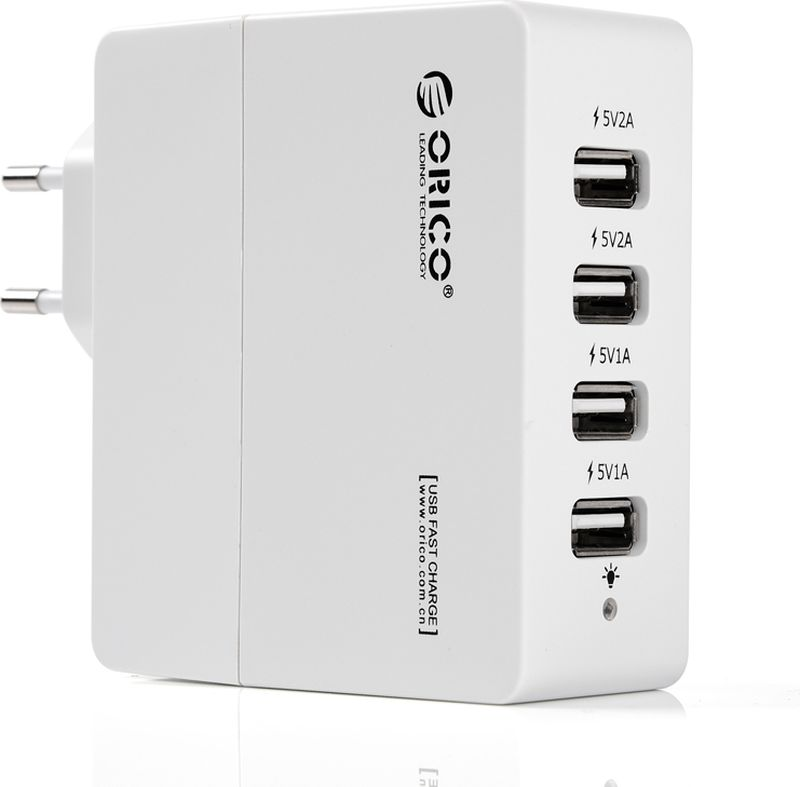 Orico DCA-4U, White сетевое зарядное устройствоORICO DCA-4U-WHORICO DCA-4U способен самостоятельно определить подключённое к нему устройство и подобрать лучшие выходные параметры силы тока и напряжений для быстрой и безопасной зарядки (1А и 2,4А). ORICO DCA-4U справится с зарядкой четырёх устройств с силой тока до 2,4А. Благодаря качественным электронным компонентам КПД составляет 85%. ORICO DCA-4Uоборудовано защитой от перегрева, короткого замыкания, перезарядки и превышения мощность зарядки. ХарактеристикиТип устройства Блок питанияМатериал корпуса ABS пластикИсточник питания Сеть 220ВВыходы USB USB Type AКоличество выходов USB 4Защита от скачков напряжения ДаЗащита от короткого замыкания ДаЗащита от перегрева ДаЗащита от перегрузки ДаЗащита от излишней зарядки ДаИндикатор питания LED синийЦвет белый