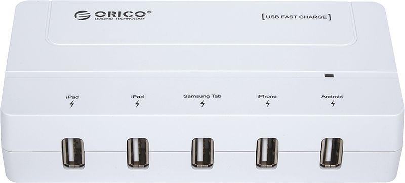 Orico DCH-5U-PRO, White сетевое зарядное устройствоORICO DCH-5U-PROOrico DCH-5U-PRO может заряжать до пяти смартфонов или планшетов одновременно. Способен самостоятельно определить подключенное к нему устройство и подобрать лучшие выходные параметры силы тока и напряжений для быстрой и безопасной зарядки. ORICO DCH-5U совместим с большинством планшетов, смартфонов, цифровых камер и другими устройствами, которые можно заряжать от порта USB. Благодаря своим компактным размерам и встроенному блоку питания, Orico DCH-5U-PRO без проблем поместится в кармане или рюкзаке.
