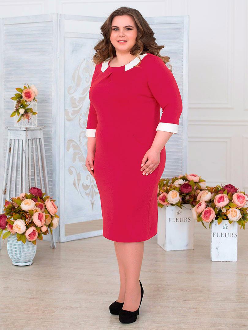 Платье женское Fill, цвет: красный. ФИЛ-251009. Размер 56ФИЛ-251009Яркая модель сделает Ваш образ неотразимым, подчеркнет особенности бюста, так же подойдет как для похода в гости, так и для выхода в ресторан.