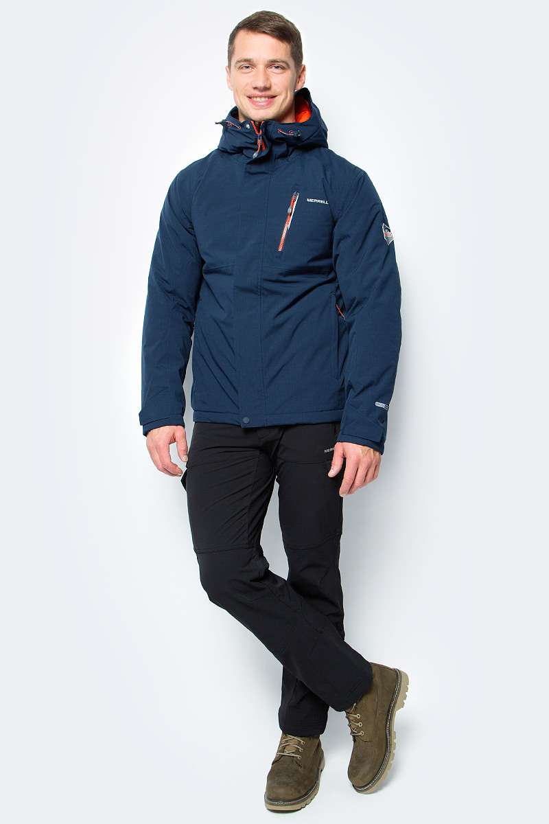 Куртка мужская Merrell Thapsus, цвет: темно-синий. A18AMRJAM11-Z4. Размер 48A18AMRJAM11-Z4Утепленная мужская куртка для походов и активного отдыха на природе Thapsus от Merrell. Модель прямого кроя с капюшоном и воротником-стойкой, надежно защищающими от продувания, изготовлена из высококачественного материала. Мембрана M Select XDry с проклеенными швами служит надежной защитой от дождя и снега. Показатель водонепроницаемости мембраны: 10 000 мм. Паропроницаемый материал с показателем 10 000 г/м2/24 ч обеспечивает отведение влаги и воздухообмен. Куртка застегивается на молнию с ветрозащитной планкой на кнопках и дополнена тремя наружными и одним внутренним карманами на молниях. Светоотражатели сделают вас заметнее в темноте или в плохую погоду.Рекомендуемый температурный режим для данной модели до -10°С, исходя из расчета на среднюю физическую активность - ходьбу 4 км/ч.