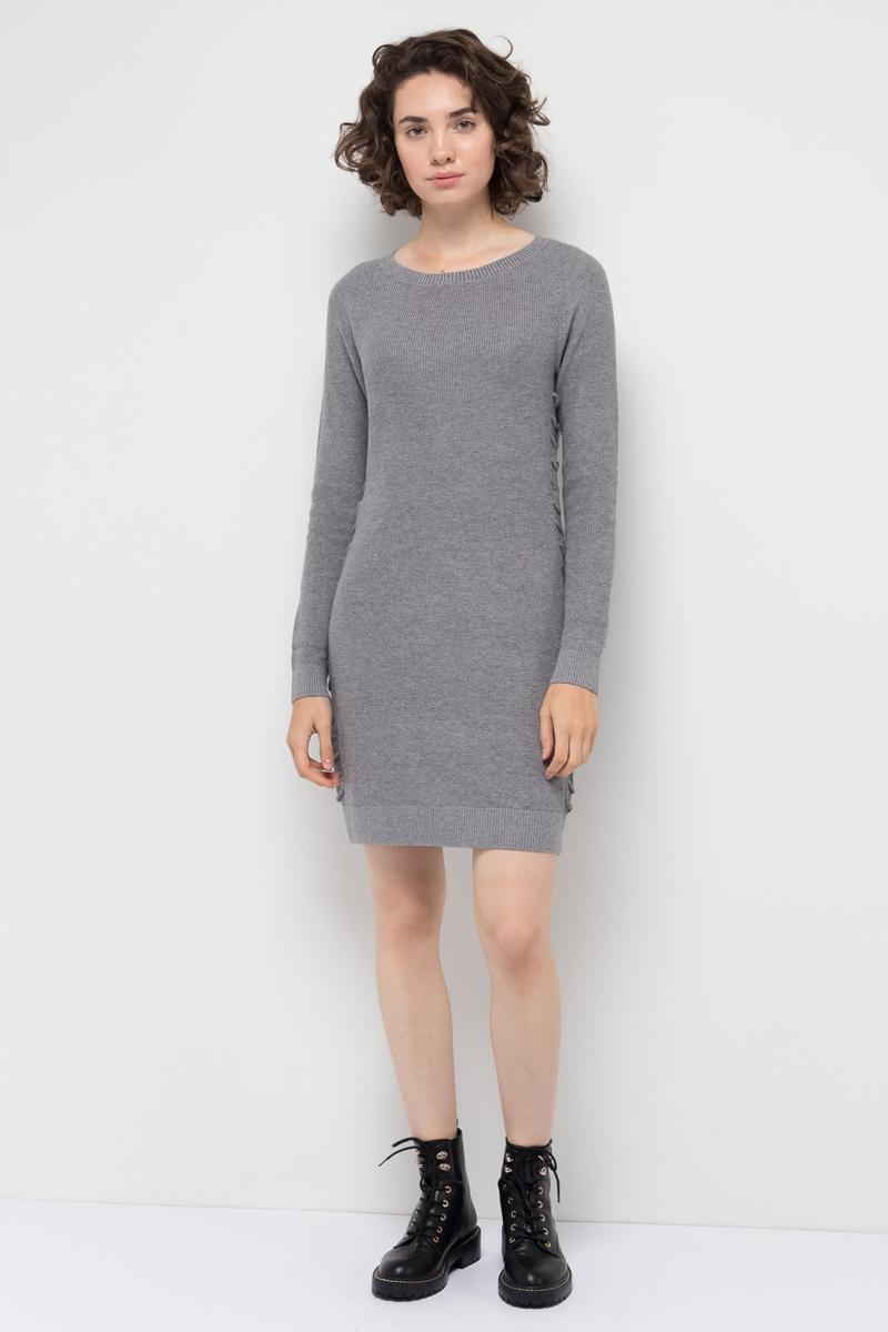Платье Sela, цвет: серый меланж. DSw-317/100-7412. Размер M (46)DSw-317/100-7412Стильное платье от Sela выполнено из пряжи сложного состава. Модель облегающего кроя с длинными рукавами-реглан длиной и круглым вырезом горловины.