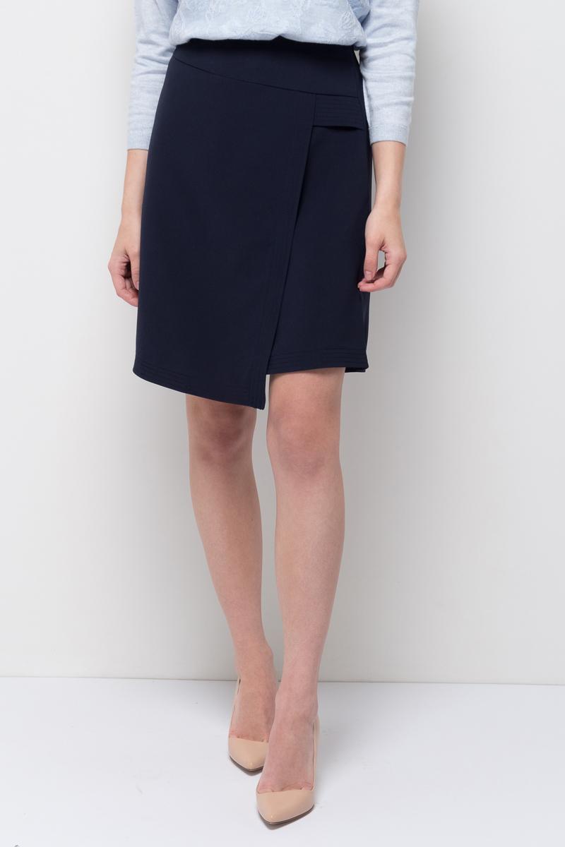 Юбка Sela, цвет: синяя впадина. SK-118/885-7422. Размер 42SK-118/885-7422Стильная юбка от Sela выполнена из высококачественного материала. Модель выше колен с запахом застегивается на потайную застежку-молнию.