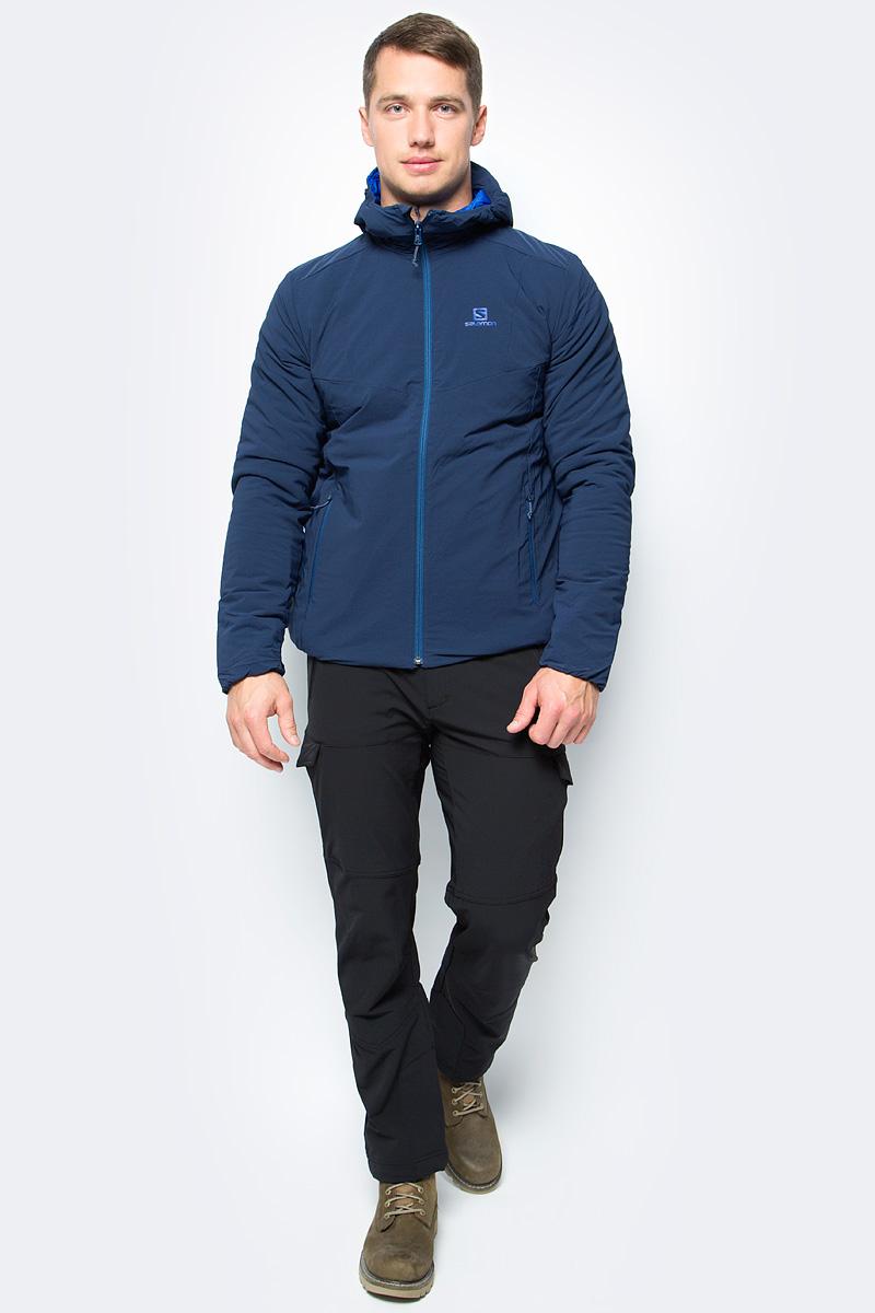 Куртка мужская Salomon Drifter Hoodie M, цвет: синий. L39772300. Размер L (52/54)L39772300Уникальная мужская куртка с капюшоном DRIFTER HOODIE имеет универсальный наружный слой для защиты от дождя и ветра и мягкую подкладку. Модель можно носить вывернутой наизнанку, если вы хотите выглядеть стильно в городе или на курорте. Утеплитель Primaloft отлично сохраняет тепло, а отделка придает стильный внешний вид в любых условиях.