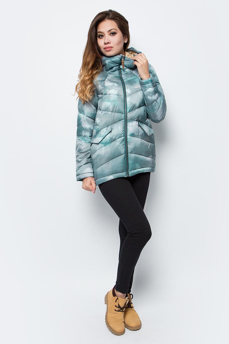 Куртка женская Merrell, цвет: зеленый. A18AMRJAW03-U4. Размер 48A18AMRJAW03-U4Утепленная женская куртка Merrell - удачный вариант для путешествий. Модель прямого кроя с капюшоном и воротником-стойкой, надежно защищающими от продувания, изготовлена из высококачественного материала.Синтетический утеплитель M Select Warm надежно защищает от холода. Куртка застегивается на молнию с внутренней ветрозащитной планкой и дополнена двумя карманами с клапанами. Капюшон оснащен системой регулировки.Рекомендуемый температурный режим для данной модели до -10°С, исходя из расчета на среднюю физическую активность - ходьбу 4 км/ч.
