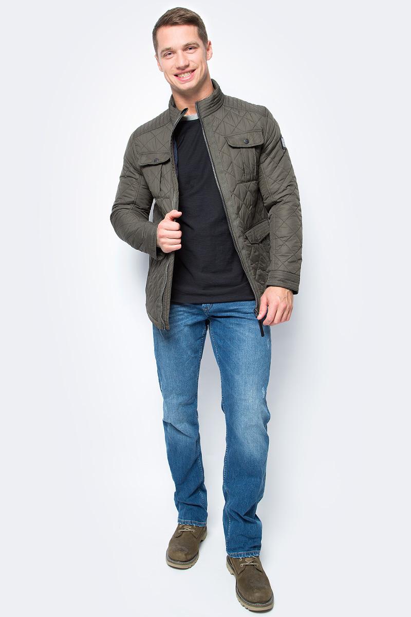 Куртка мужская Tom Tailor, цвет: зеленый. 3533470.00.10_7815. Размер XL (52)3533470.00.10_7815Мужская куртка Tom Tailor выполнена из высококачественного материала. В качестве подкладки и утеплителя используется полиэстер. Модель с воротником-стойкой застегивается на застежку-молнию. Спереди расположено множество карманов.