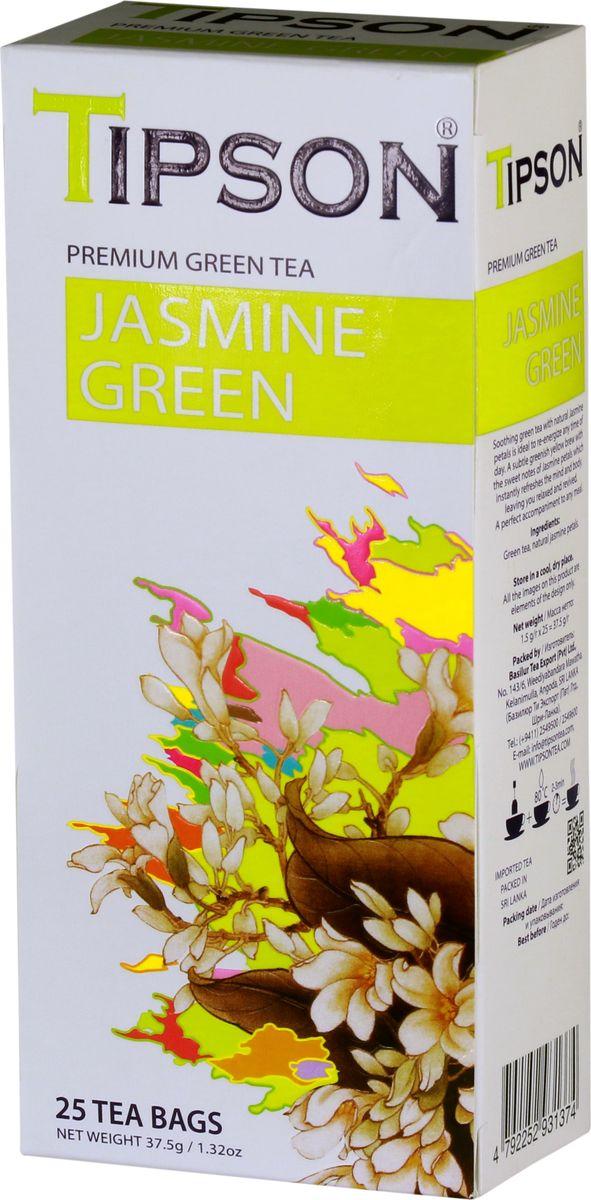 Tipson Jasmine Green зеленый чай в пакетиках, 25 шт80104-00Самые нежные и молодые чайные листья использованы в приготовлении GREEN FRESH, благодаря чему этот освежающий напиток обладает целебными свойствами и гармоничными вкусом.Всё о чае: сорта, факты, советы по выбору и употреблению. Статья OZON Гид