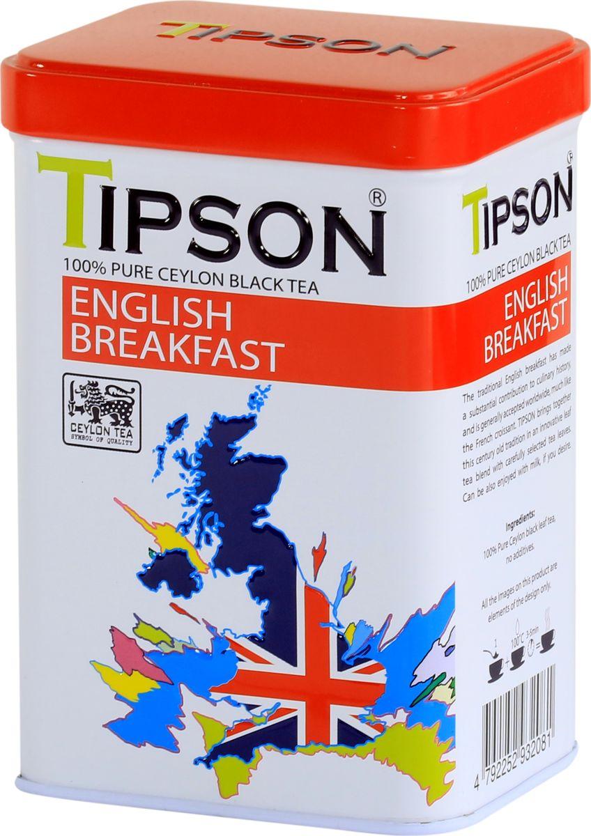 Tipson Английский завтрак черный листовой чай, 85 г80122-00Чай Tipson Английский завтрак - традиционный купаж цейлонского чая, который состоит из некрупных отборных листочков, благодаря чему настой чая получается особенно крепким и насыщенным. Невозможно представить классический английский завтрак без чая, поэтому рекомендуется пить утром во время завтрака с молоком. Типсон поддерживает эту традицию, развивает её и дополняет новаторским подходом.Всё о чае: сорта, факты, советы по выбору и употреблению. Статья OZON Гид