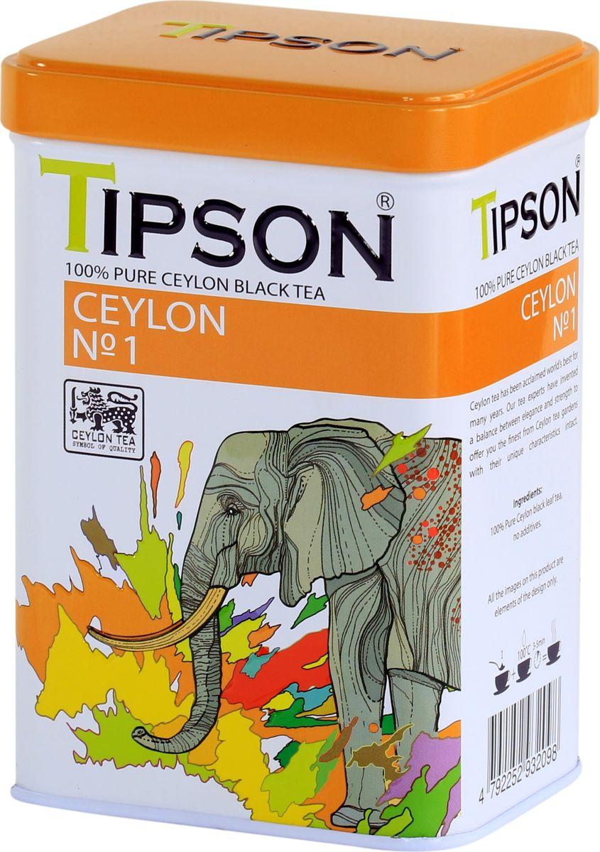 Tipson Ceylon №1 OPA черный листовой чай, 85 г tipson pearl зеленый листовой чай 75 г жестяная банка