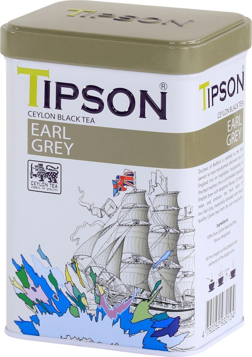 Tipson Эрл Грей чай листовой черный с ароматом бергамота, 85 г tipson pearl зеленый листовой чай 75 г жестяная банка