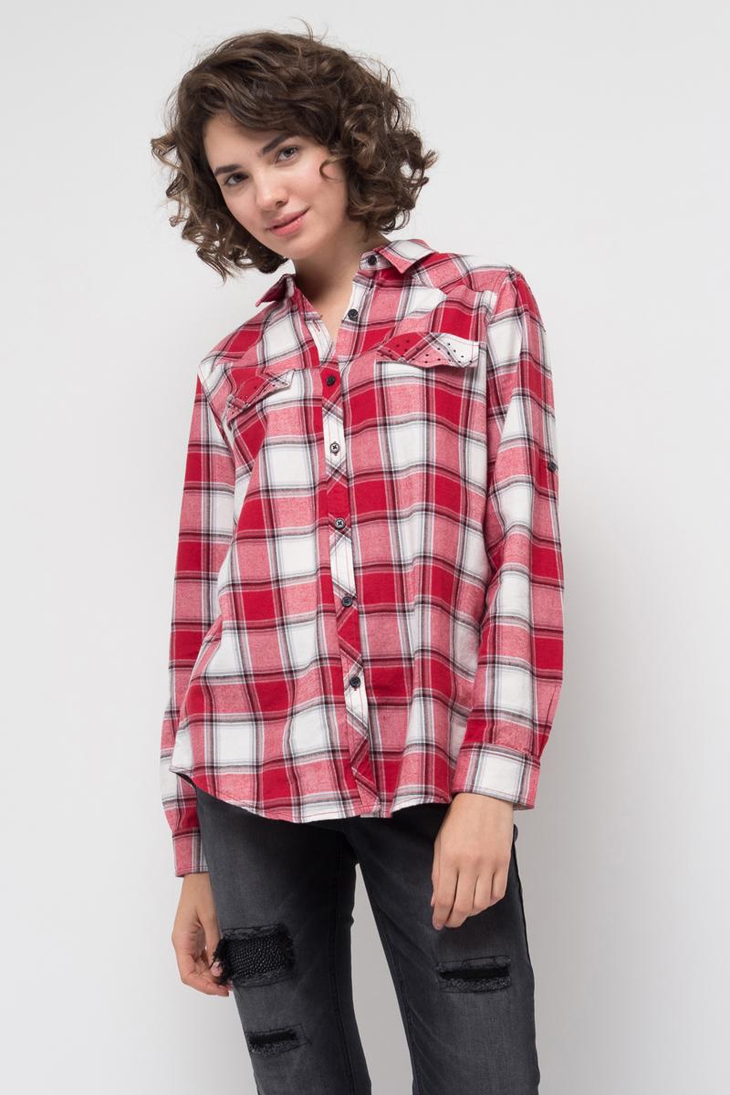 Блузка женская Sela, цвет: темно-красный. B-312/003-7412. Размер 46B-312/003-7412