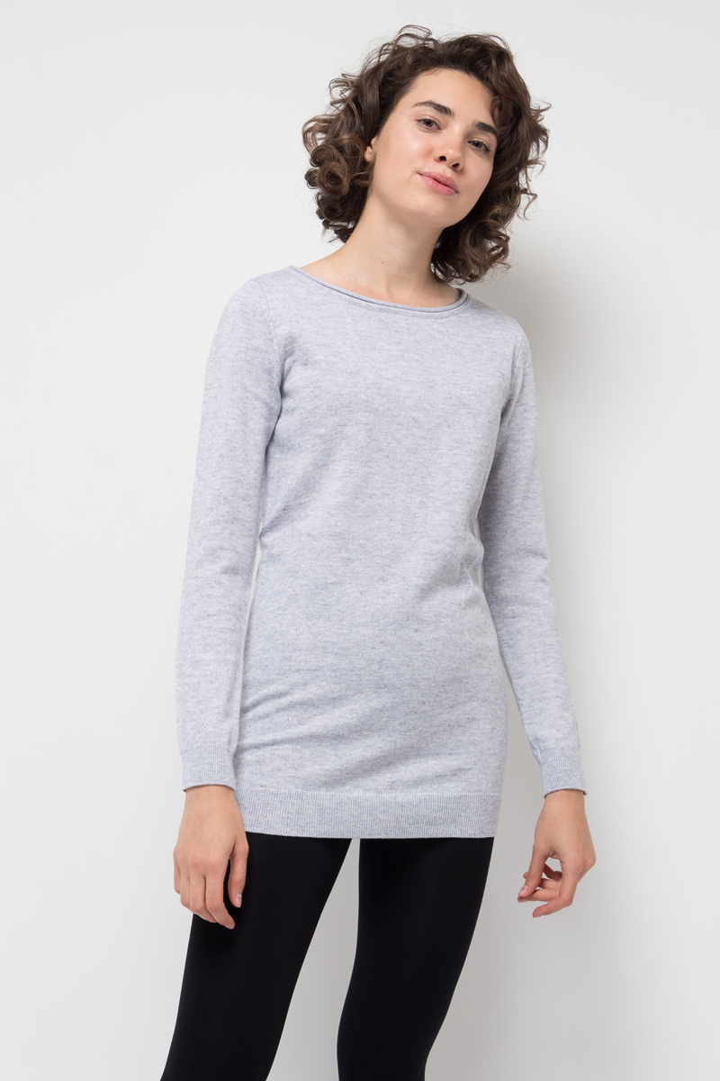 Джемпер женский Sela, цвет: светло-серый меланж. JR-114/1253-7442. Размер XS (42)