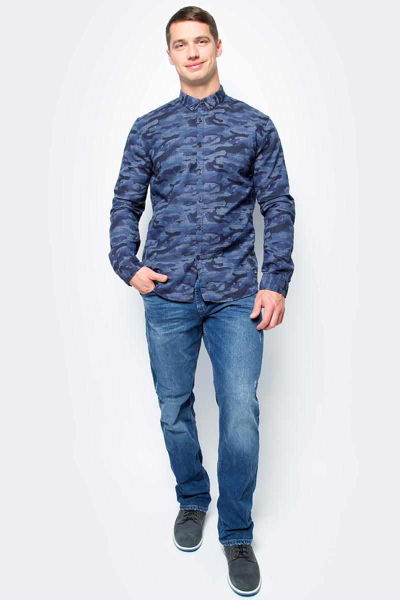 Рубашка мужская Tom Tailor, цвет: синий. 2055042.00.12_6576. Размер M (48)2055042.00.12_6576Рубашка мужская Tom Tailor выполнена из хлопка. Модель с отложным воротником застегивается на пуговицы.