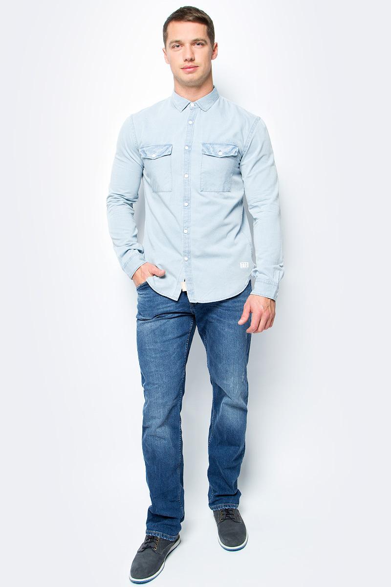 Рубашка мужская Tom Tailor, цвет: голубой. 2055041.00.12_1301. Размер S (46)2055041.00.12_1301Рубашка мужская Tom Tailor выполнена из хлопка. Модель с длинными рукавами и отложным воротником застегивается на пуговицы.