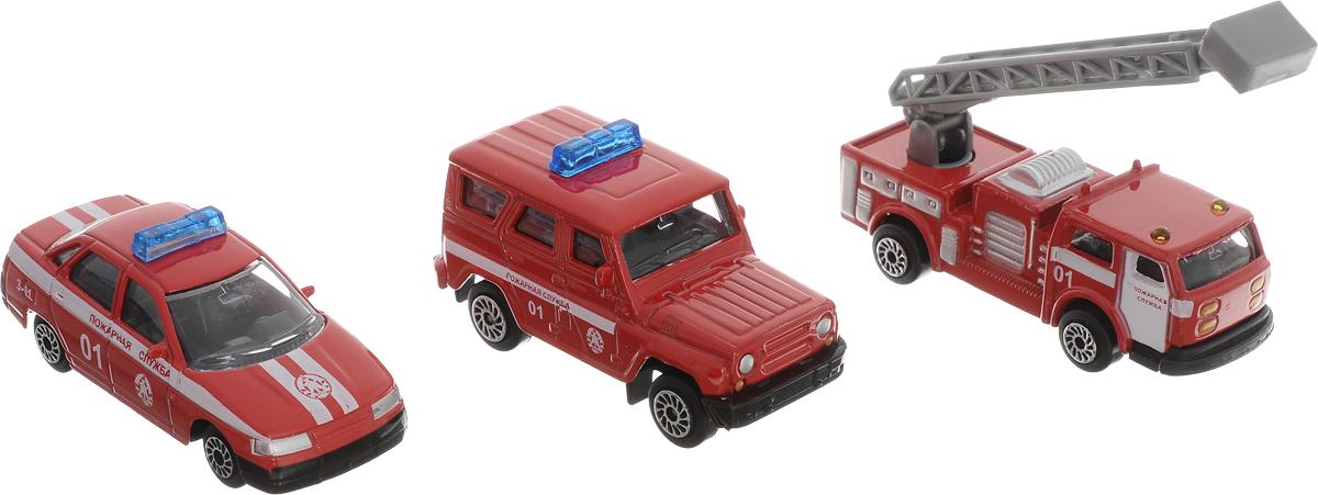 ТехноПарк Набор машинок Пожарная служба 3 шт технопарк автомобиль uaz hunter пожарная служба