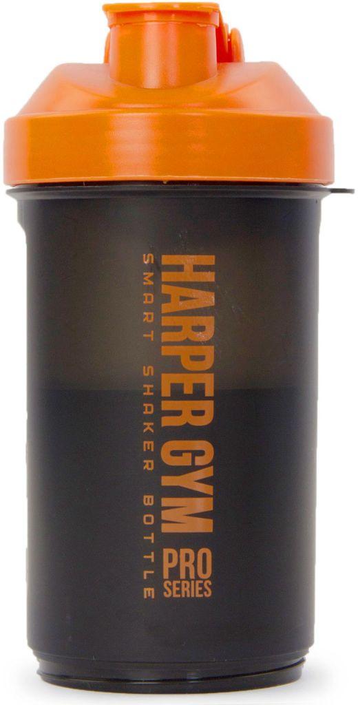 Шейкер Harper Gym Smart, цвет: черный, оранжевый. 336297336297Размер: 9 х 25 см. Материал: полипропилен .Дополнительно: подходит для использования в микроволновой печи (без карабина). Размешивание с помощью сетки. В комплекте: две дополнительные съемные секции + карабин .