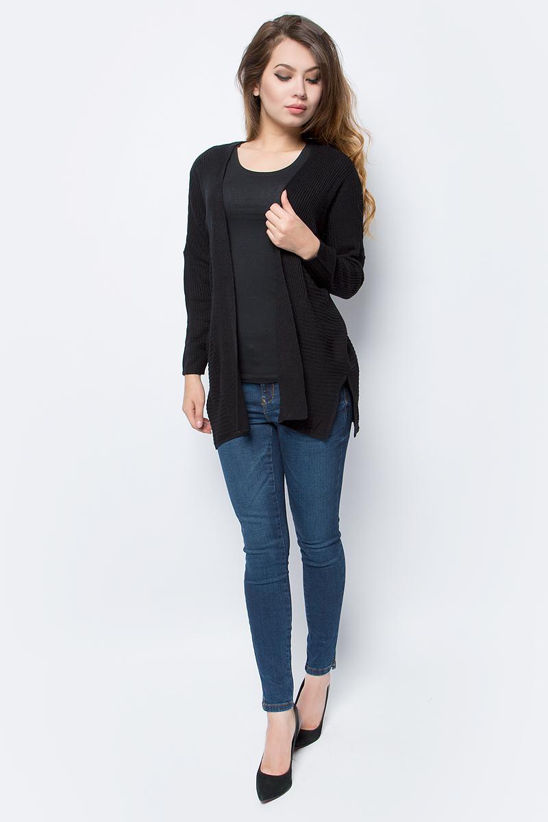 Кардиган женский Only, цвет: черный. 15139978_Black. Размер S (42/44)15139978_BlackУютный кардиган от Only выполнен из натуральной акриловой пряжи. Модель с длинными рукавами не имеет застежки.