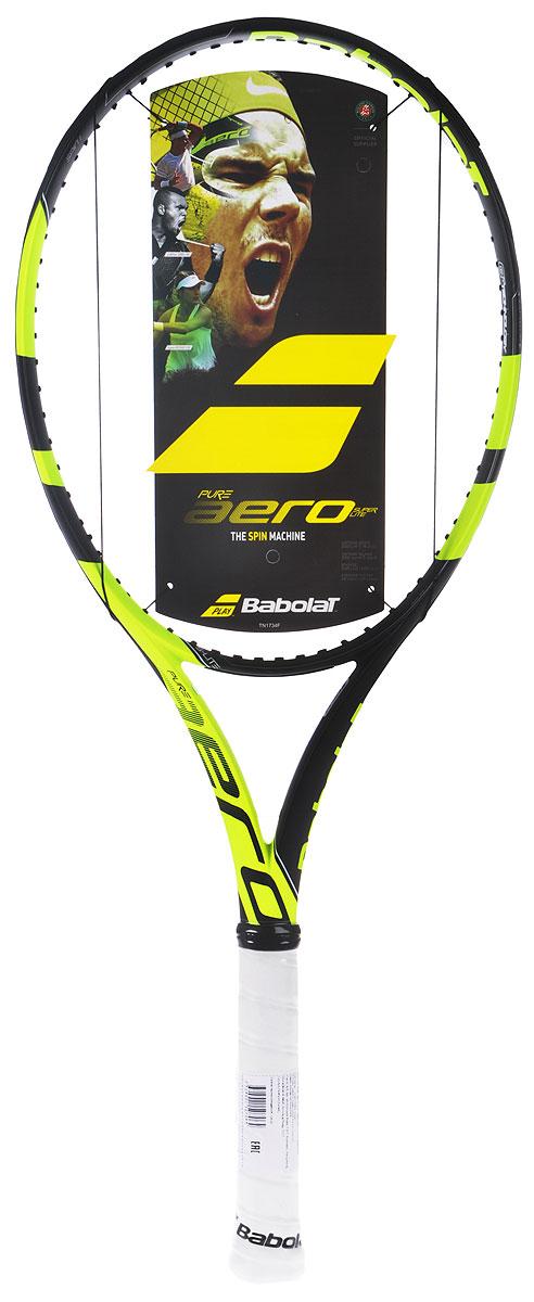 Ракетка теннисная Babolat Pure Aero Super Lite, без натяжки, цвет: черный, салатовый. Размер 2