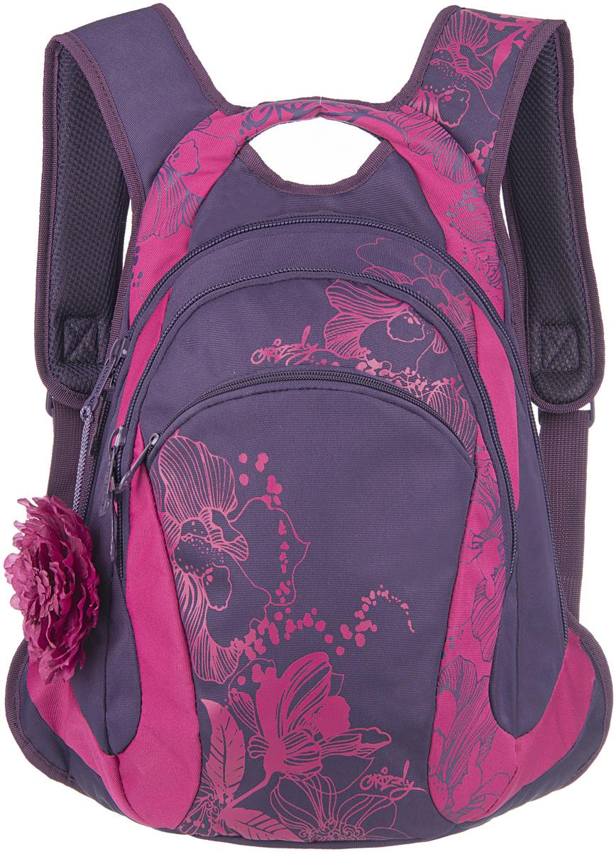 Рюкзак женский Grizzly, цвет: темно-фиолетовый, розовый, 10,5 л. RD-520-1/3RD-520-1/3Женский рюкзак Grizzly изготовлен из полиэстера и имеет два главных отделения, закрывающиеся застежки-молнии, карман на молнии на передней стенке, внутренний карман-пенал для карандашей. Рюкзак с анатомической спинкой оснащен двумя широкими мягкими лямками регулируемой длины и удобной короткой ручкой.