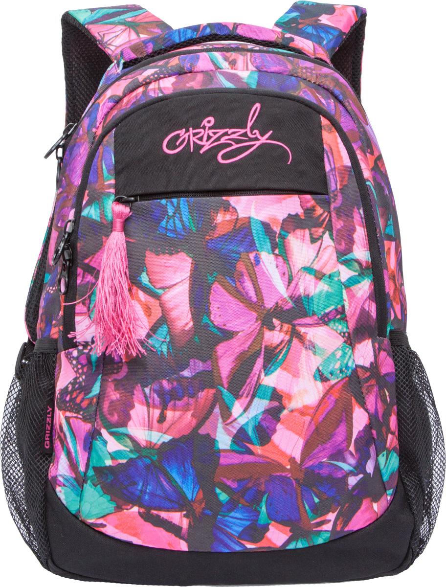 Рюкзак женский Grizzly, цвет: черный, розовый, 14 л. RD-741-1/4RD-741-1/4Рюкзак молодежный, два отделения, карман на молнии на передней стенке, боковые карманы из сетки, внутренний подвесной карман на молнии, внутренний составной пенал-органайзер, анатомическая спинка, дополнительная ручка-петля, мягкая укрепленная ручка