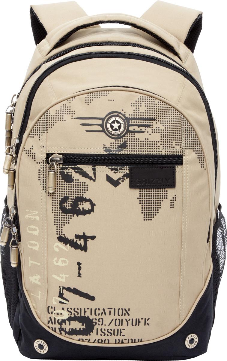 Рюкзак молодежный мужской Grizzly, цвет: бежевый, 18,5 л. RU-501-1/4RU-501-1/4Рюкзак с жесткой анатомической спинкой Grizzly изготовлен из полиэстера и имеет три отделения, карман на молнии на передней стенке, боковые карманы из сетки, внутренний карман, внутренний подвесной карман на молнии, внутренний составной пенал-органайзер. Рюкзак оснащен двумя широкими мягкими лямками регулируемой длины и удобной короткой ручкой.