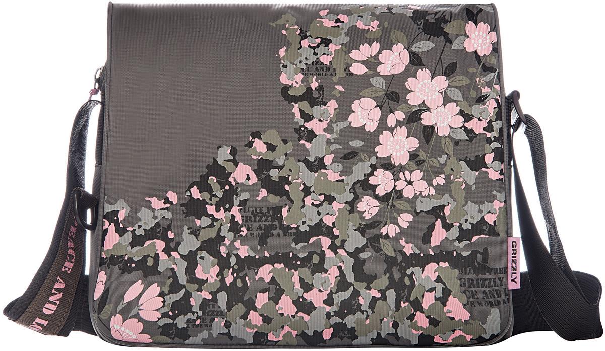 Сумка женская Grizzly, цвет: оливковый, серый, 9,5 л. MD-533-2/3MD-533-2/3Молодежная женская сумка Grizzly изготовлена из плотного текстиля.Сумка имеет два главных отделения, закрывающихся клапаном на липучке, плоский передний карман на молнии, внутренний карман на молнии.Сумка оснащена регулируемым плечевым ремнем.