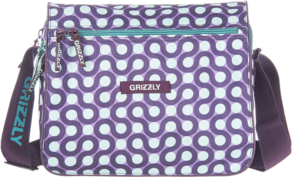 Сумка женская Grizzly, цвет: фиолетовый, 9,5 л. MD-524-3/2MD-524-3/2Молодежная женская сумка Grizzly изготовлена из плотного текстиля. Сумка имеет два главных отделения, закрывающихся клапаном на липучке с карманом на молнии, передний карман, плоский передний и внутренний карман на молнии. Сумка оснащена регулируемым плечевым ремнем.