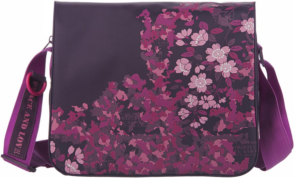 Сумка женская Grizzly, цвет: фиолетовый, 9,5 л. MD-533-2/4MD-533-2/4Молодежная женская сумка Grizzly изготовлена из плотного текстиля с водоотталкивающей пропиткой.Сумка имеет два главных отделения, закрывающихся клапаном на липучке, передний карман, плоский передний и внутренний карман на молнии.Сумка оснащена регулируемым плечевым ремнем.