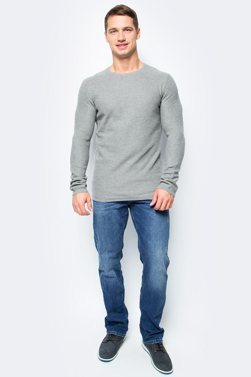 Джемпер мужской Tom Tailor, цвет: серый. 3022868.09.12_2803. Размер L (50)3022868.09.12_2803Джемпер мужской Tom Tailor выполнен из натурального хлопка. Модель с круглым вырезом горловины и длинными рукавами.