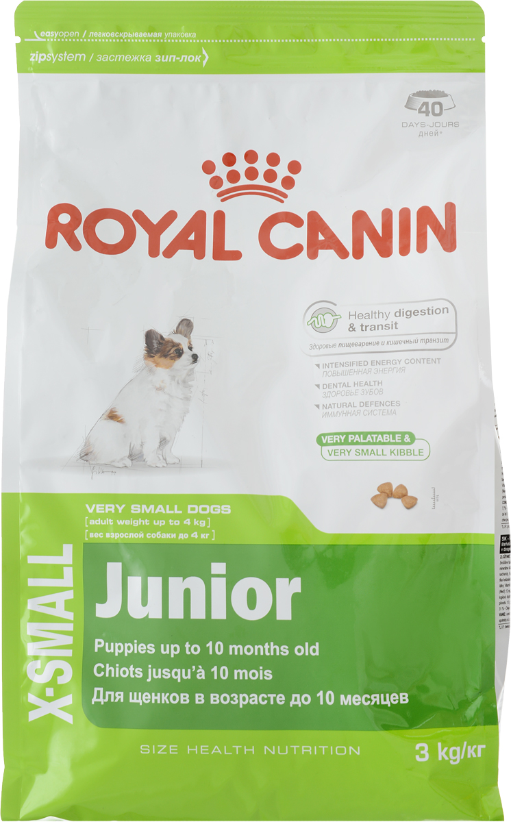 Корм сухой Royal Canin X-Small, для щенков мелких пород миниатюрных собак (меньше 4 кг) с 2 до 10 месяцев, 3 кг57221Период роста у собак миниатюрных размеров краток, но интенсивен, и именно в это время закладывается основа будущего здоровья. Всего за 7-8 недель с момента рождения вес щенка увеличивается в 10 раз! Чтобы обеспечить собаке наилучшее качество жизни, важно с самого начала использовать сбалансированный рацион питания, учитывающий особые потребности щенка.МАКСИМАЛЬНАЯ ЗАЩИТА ПИЩЕВАРИТЕЛЬНОЙ СИСТЕМЫЭксклюзивная комбинация питательных веществ для оптимальной безопасности пищеварительной системы(белки L.I.P.*) и баланса кишечной флоры, а также для поддержания оптимальной консистенции стула у щенков.Высокое содержание энергииУдовлетворяет энергетические потребности щенков собак миниатюрных размеров в период роста. Обладает высокой вкусовой привлекательностью.Здоровье зубовПомогает замедлить образование зубного налета благодаря полифосфату натрия, который связывает кальций, содержащийся в слюне.Естественные механизмы защитыПоддерживает естественные механизмы защиты организма щенков благодаря запатентованному комплексу антиоксидантов и наличию пребиотиков.Маленькие крокеты разработаны специально для крошечных челюстей собак миниатюрных размеров, а их эксклюзивная формула привлекательна даже для собак, особенно привередливых в питании. ИНГРЕДИЕНТЫДегидратированное мясо птицы, рис, кукуруза, животные жиры, изолят растительных белков*, кукурузная клейковина, гидролизат белков животного происхождения, свекольный жом, минеральные вещества, соевое масло, оболочка и семена подорожника (1%), рыбий жир, фруктоолигосахариды, гидролизат дрожжей (источник мaннановых олигосахаридов), экстракт бархатцев прямостоячих (источник лютеина).Товар сертифицирован.Уважаемые клиенты! Обращаем ваше внимание на то, что упаковка может иметь несколько видов дизайна. Поставка осуществляется в зависимости от наличия на складе.