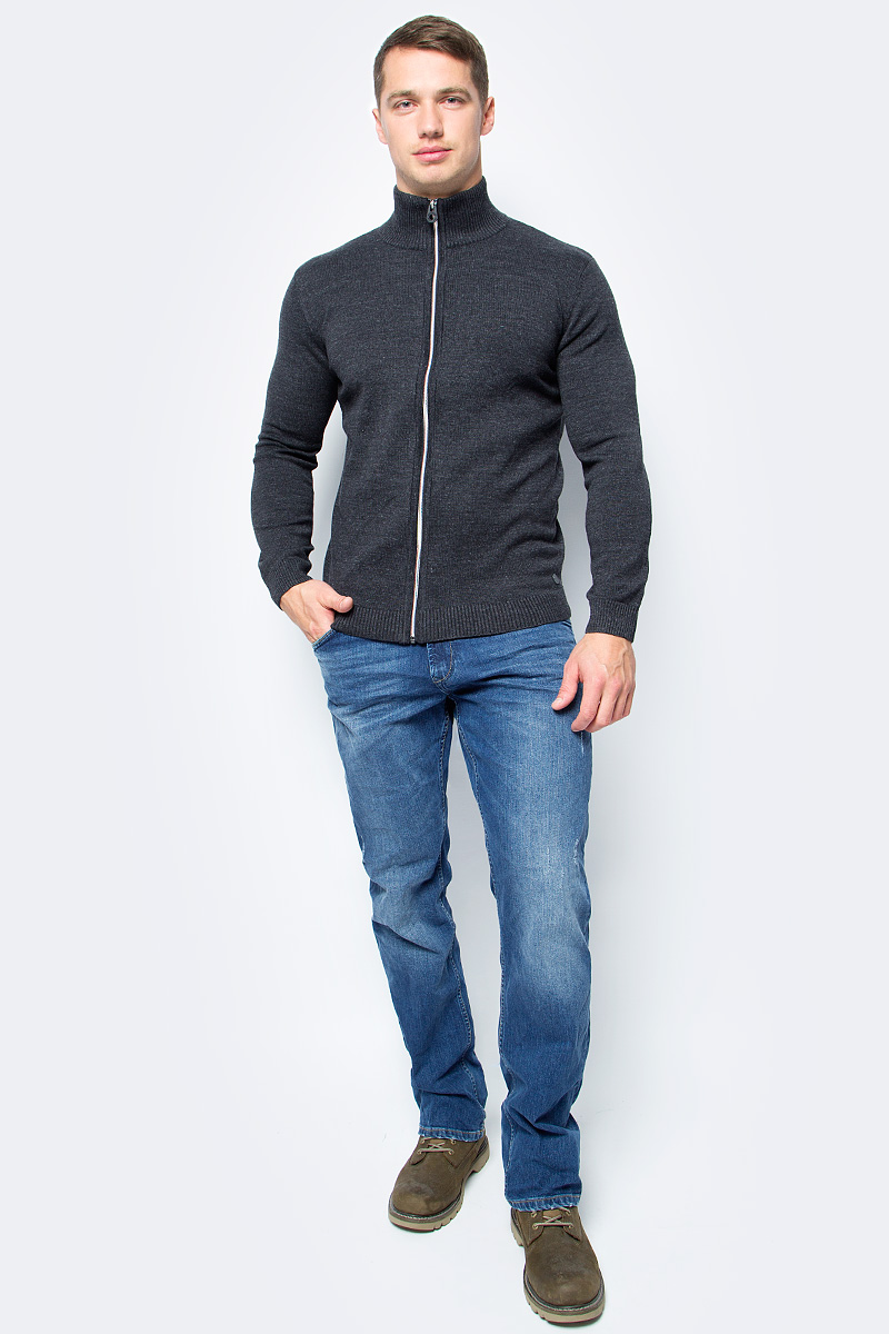 Кофта мужская Tom Tailor, цвет: темно-серый. 3022854.09.10_2572. Размер L (50)