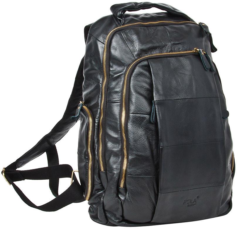 Рюкзак мужской Pola, цвет: черный. 18051805Мужской рюкзак выполнен из натуральной кожи. Состоит из двух отделений на молнии. Внутри карман на молнии, открытый карман и органайзер. Снаружи на задней стенке есть один карман на молнии. Два кармана спереди сумки на молнии. По бокам рюкзака расположены карманы на молнии. Лямки шириной 60 мм регулируются по длине. Предусмотрено отделение для ноутбука 14 дюймов.