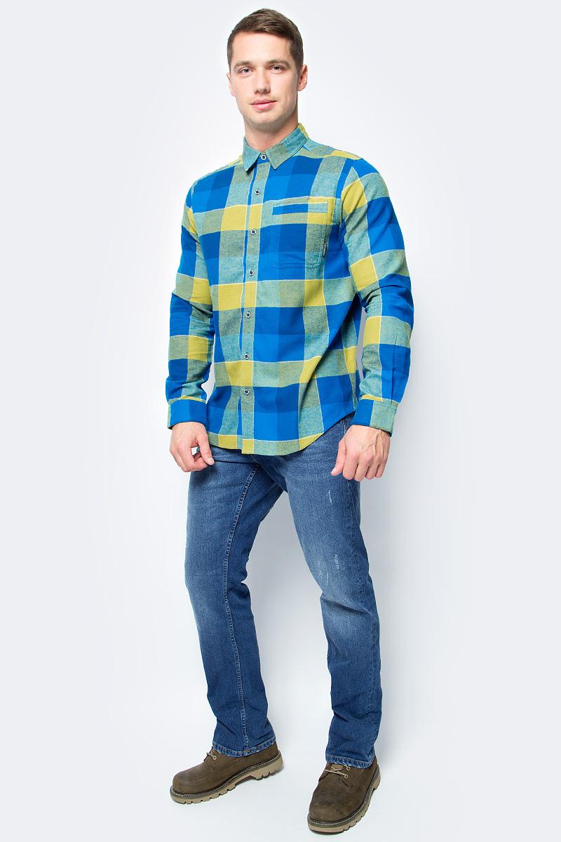 Рубашка мужская Columbia Boulder Ridge Ls Flannel Shirt, цвет: синий, горчичный. 1735502-489. Размер S (44/46)1735502-489Мужская рубашка от Columbia с длинным рукавом - отличное дополнение гардероба как для повседневного использования, так и для активного отдыха. Модель прямого кроя с отложным воротником и полукруглым низом. Предусмотрен нагрудный накладной карман. Изделие выполнено из хлопкового материала и оформлено клетчатым принтом.