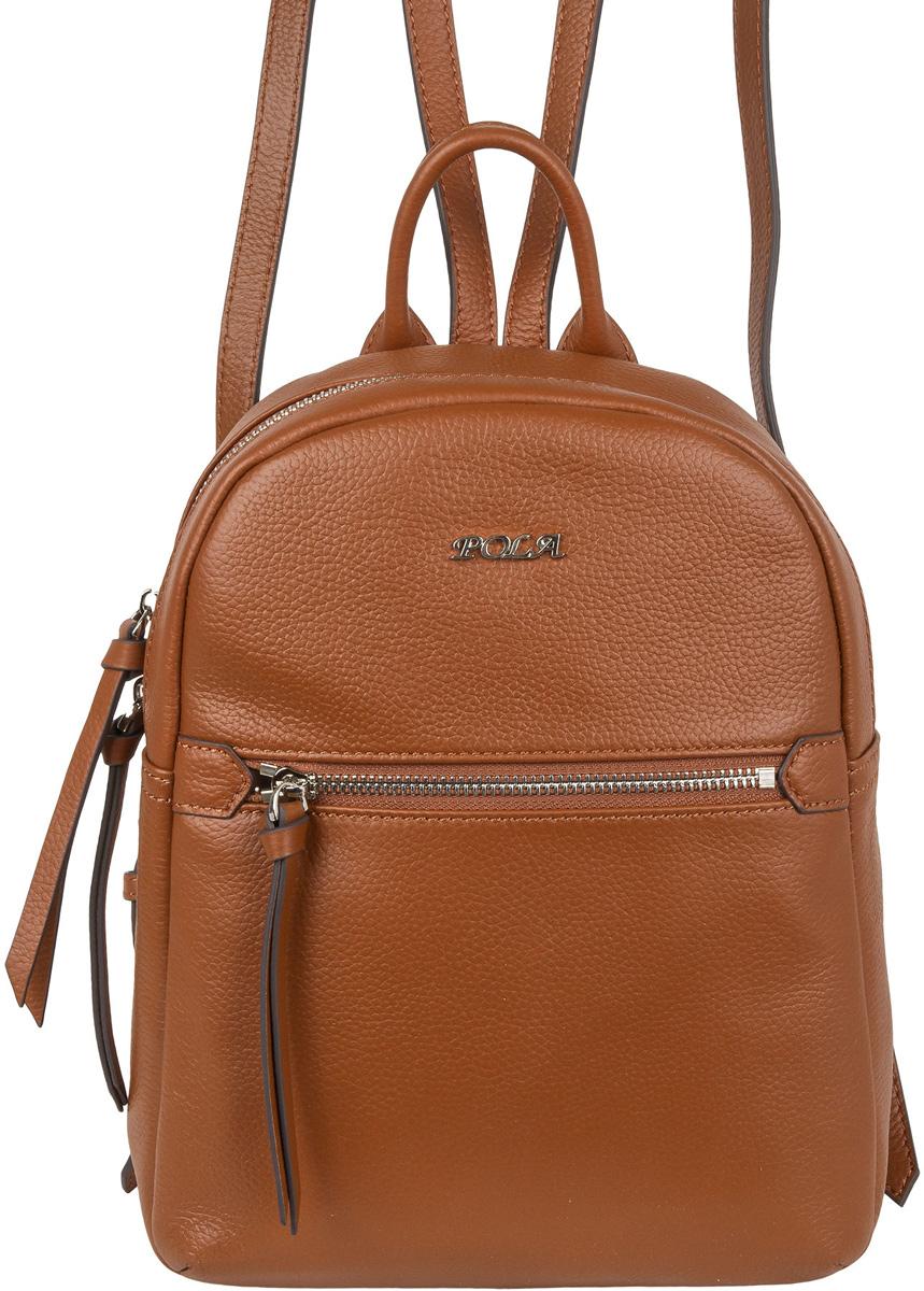 Рюкзак женский Pola, цвет: коричневый. 6905169051Женский рюкзак Pola выполнен из натуральной кожи. Рюкзак закрывается на металлическую молнию. Молния имеет два бегунка и может открываться и закрываться в разные стороны. Внутри одно отделение, в котором есть карман на молнии и открытый карман. Спереди рюкзака врезной карман на молнии, сзади врезной вертикальный карман на молнии. Лямки рюкзака регулируются по длине, максимальная длина лямки 82 см.
