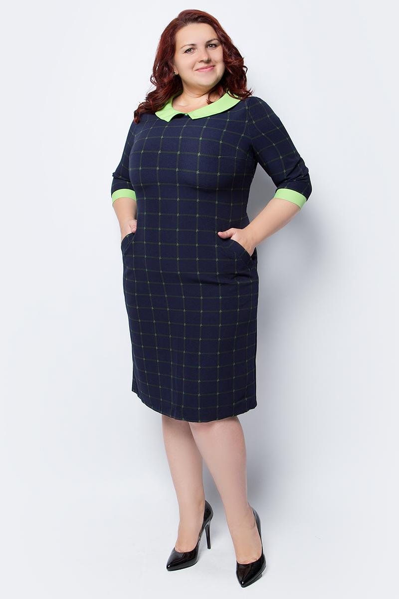 Платье женское Fill, цвет: темно-синий, салатовый. ФИЛ-177-1015-20. Размер 54ФИЛ-177-1015-20Платье с рукавами 3/4 выполнено из эластичной вискозы . Сочетая в себе два стиля, дополнен выразительным воротничком, а клетка придает силуэту стройность.