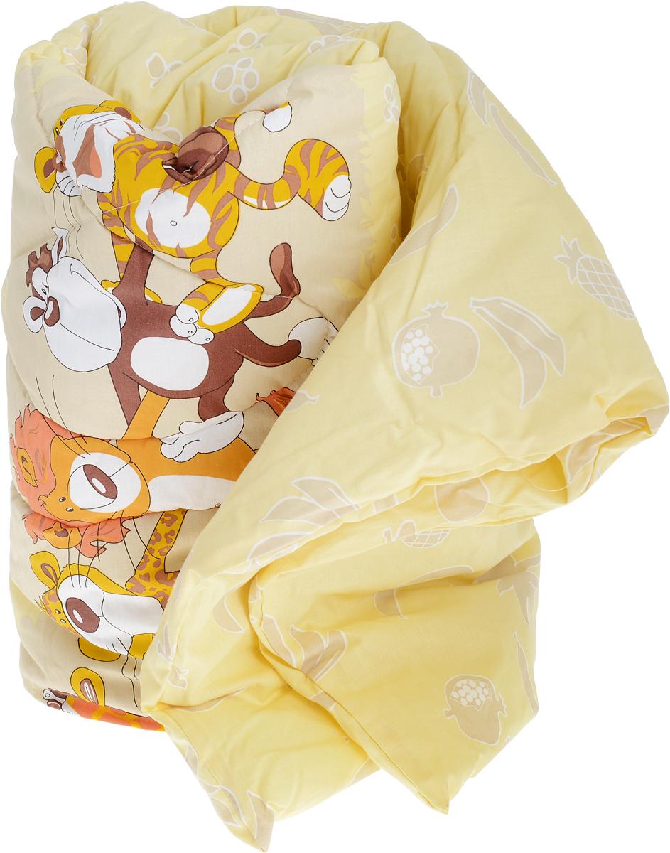 Сонный гномик Одеяло детское стеганое звери цвет желтый 110 х 140 см -  Детский текстиль